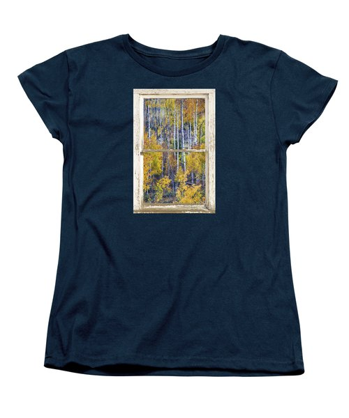 Aspen Tree Magic Cottonwood Pass White Farm House Window Art Women's T-Shirt (Standard Cut) by James BO  Insogna