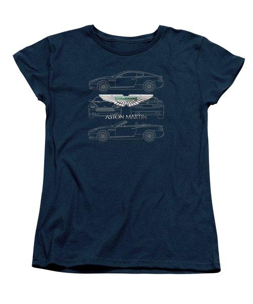 Aston Martin 3 D Badge Over Aston Martin D B 9 Blueprint Women's T-Shirt (Standard Cut)