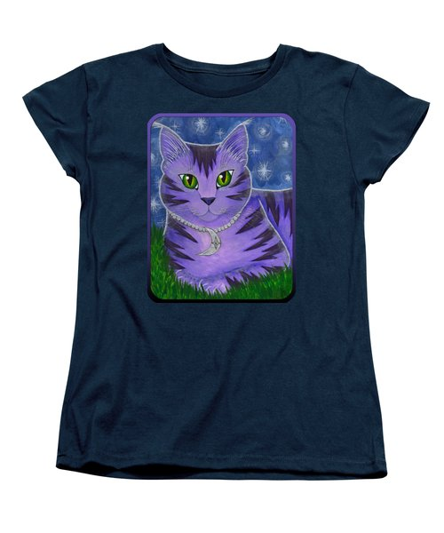Women's T-Shirt (Standard Cut) featuring the painting Astra Celestial Moon Cat by Carrie Hawks
