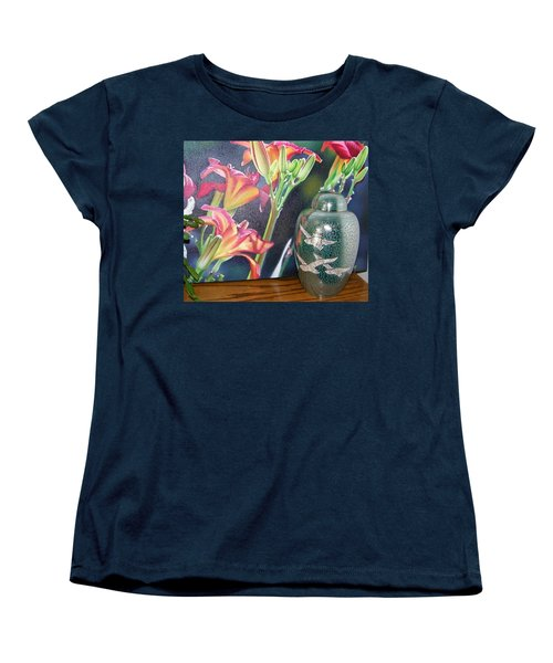 At One With Flowers And Swallows Women's T-Shirt (Standard Cut) by Lenore Senior