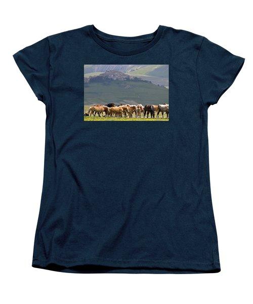 Women's T-Shirt (Standard Cut) featuring the photograph Castelluccio Di Norcia, Parko Nazionale Dei Monti Sibillini, Italy by Dubi Roman