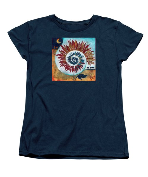Women's T-Shirt (Standard Cut) featuring the painting At The Edge Of Day And Night by Anna Ewa Miarczynska