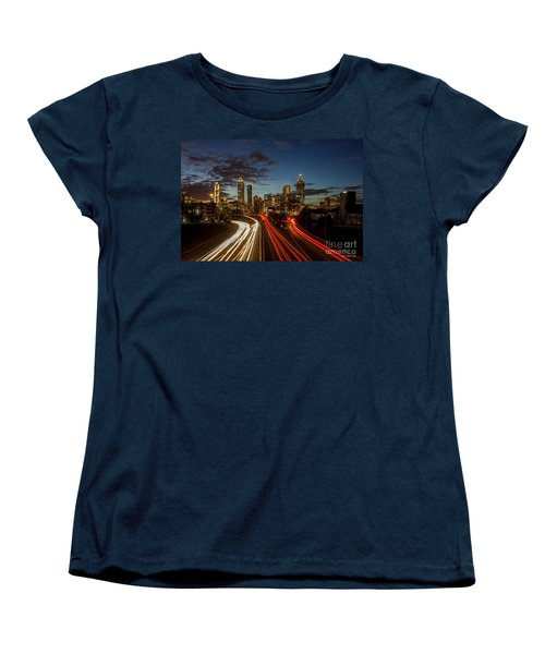 Women's T-Shirt (Standard Cut) featuring the photograph Atlanta Downtown Infusion Atlanta Sunset Cityscapes Art by Reid Callaway