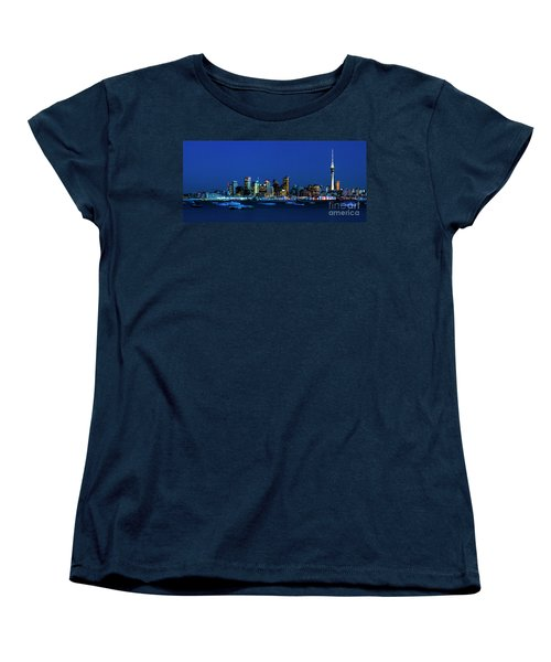 Auckland City Night Lights Women's T-Shirt (Standard Cut) by Karen Lewis