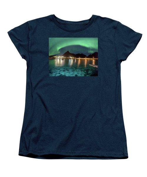 Aurora Above Turquoise Waters Women's T-Shirt (Standard Cut)