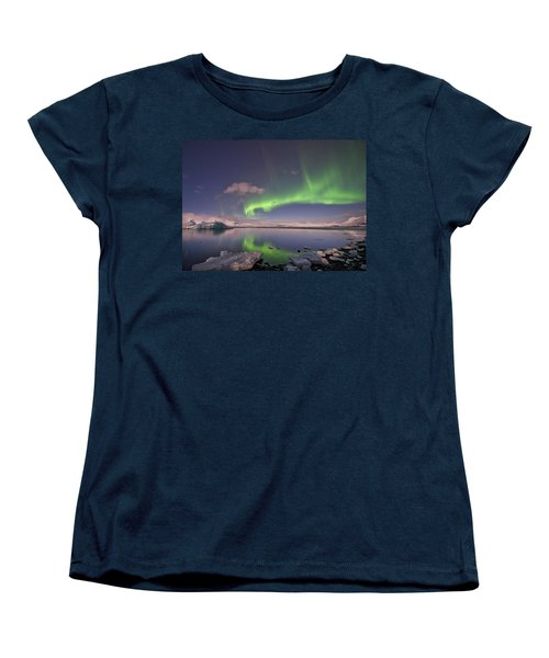 Aurora Borealis And Reflection #2 Women's T-Shirt (Standard Cut) by Wanda Krack