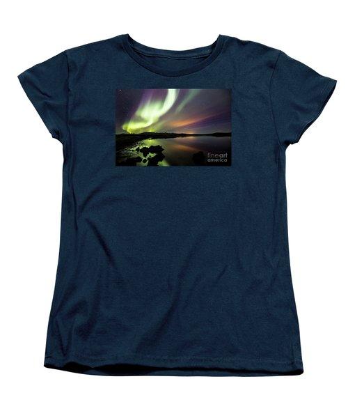 Aurora Borealis Over Thinvellir Women's T-Shirt (Standard Cut) by Gunnar Orn Arnason