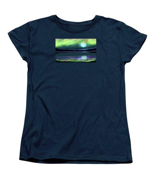 Aurora Moon Lake Women's T-Shirt (Standard Cut) by Patricia L Davidson
