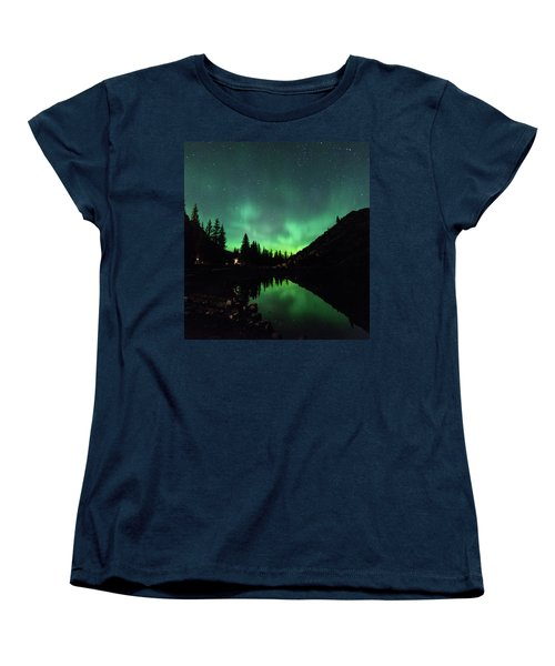 Aurora On Moraine Lake Women's T-Shirt (Standard Cut) by Alex Lapidus