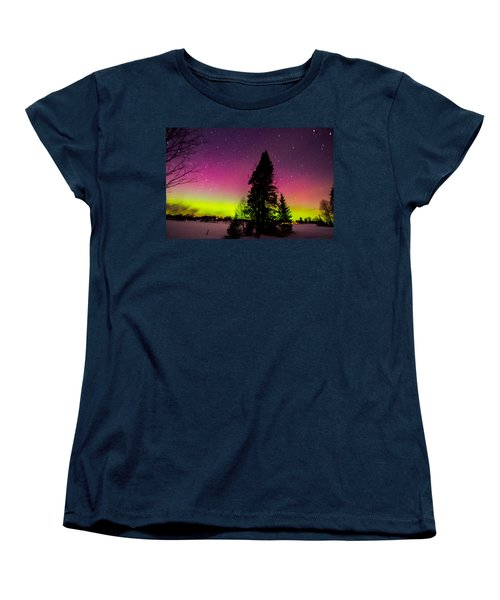 Aurora With Spruce Tree Women's T-Shirt (Standard Cut) by Tim Kirchoff