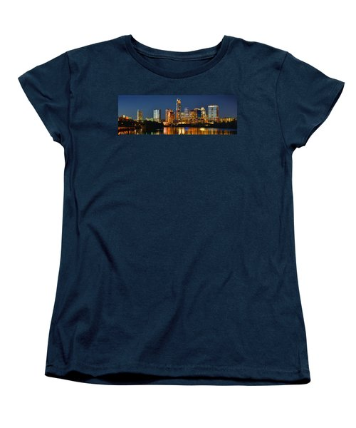 Austin Skyline At Night Color Panorama Texas Women's T-Shirt (Standard Cut) by Jon Holiday