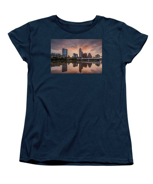 Austin Skyline Sunrise Reflection Women's T-Shirt (Standard Cut) by Todd Aaron