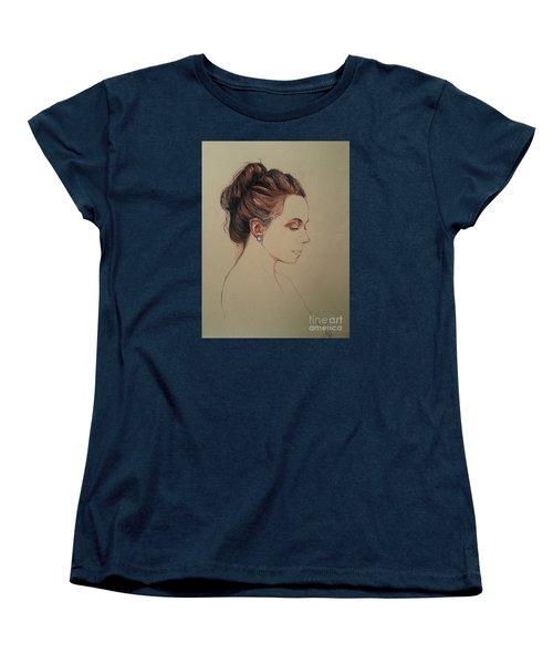 Women's T-Shirt (Standard Cut) featuring the drawing Autoportrait Maja Sokolowska by Maja Sokolowska
