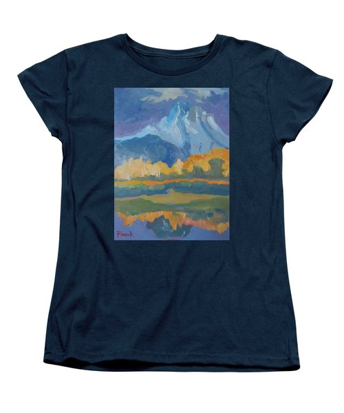 Women's T-Shirt (Standard Cut) featuring the painting Autumn At Mt. Moran by Francine Frank