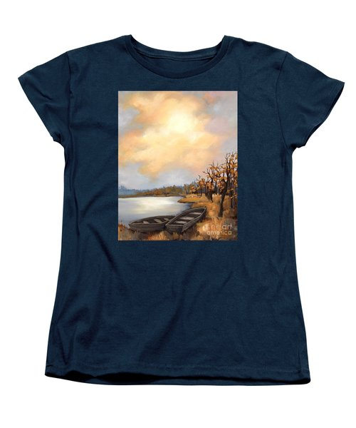 Women's T-Shirt (Standard Cut) featuring the painting Autumn Boats by Inese Poga