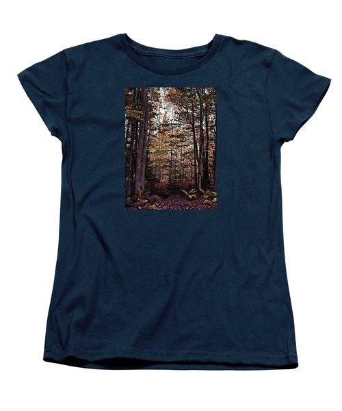 Autumn Color In The Woods Women's T-Shirt (Standard Cut) by Joy Nichols