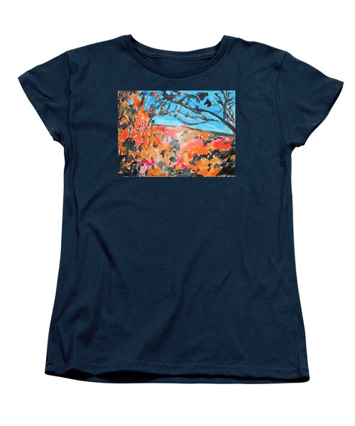 Women's T-Shirt (Standard Cut) featuring the painting Autumn Flames by Esther Newman-Cohen
