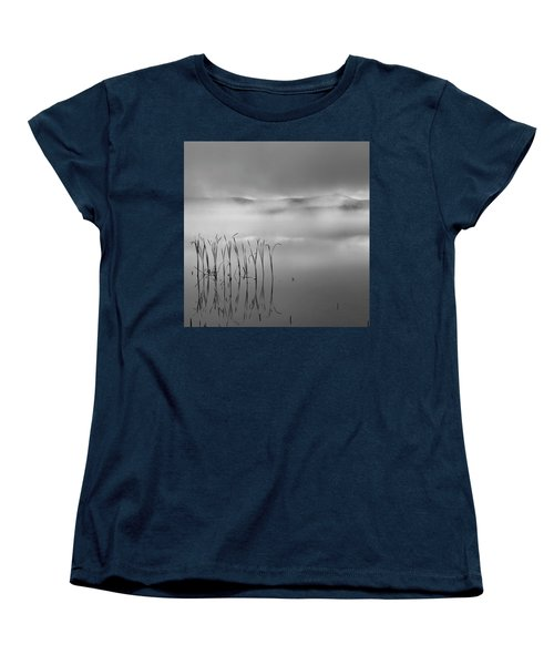 Women's T-Shirt (Standard Cut) featuring the photograph Autumn Fog Black And White Square by Bill Wakeley
