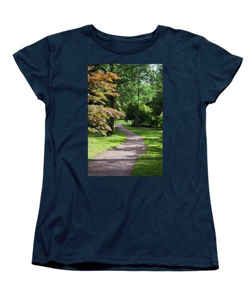 Autumn Forest Path Women's T-Shirt (Standard Cut) by Scott Lyons