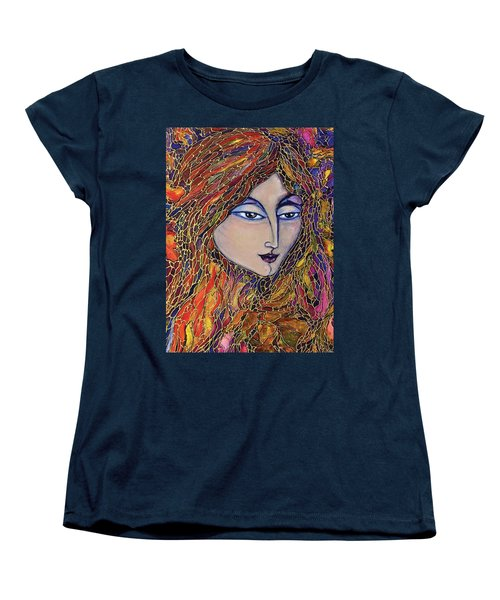 Women's T-Shirt (Standard Cut) featuring the painting Autumn Leaves by Rae Chichilnitsky