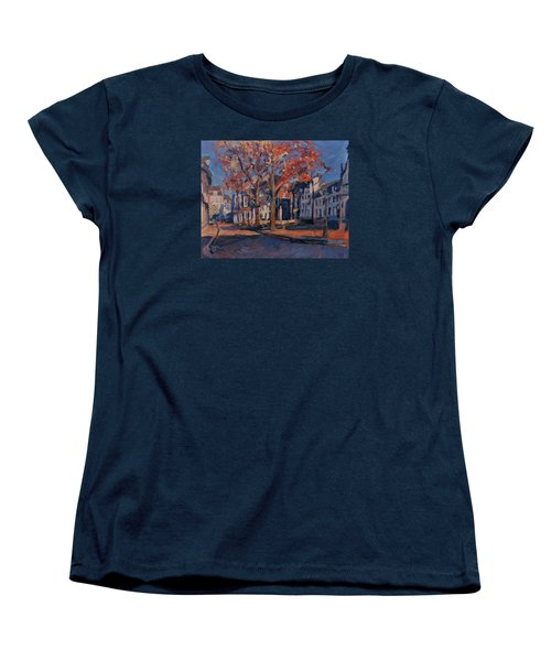 Women's T-Shirt (Standard Cut) featuring the painting Autumn On The Square Of Our Lady Maastricht by Nop Briex