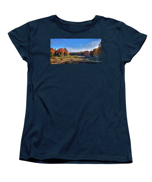 Women's T-Shirt (Standard Cut) featuring the photograph Autumn Panorama At The Green Bridge by David Patterson