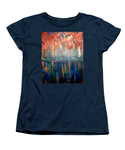 Women's T-Shirt (Standard Cut) featuring the painting Autumn Reflections by Rae Chichilnitsky