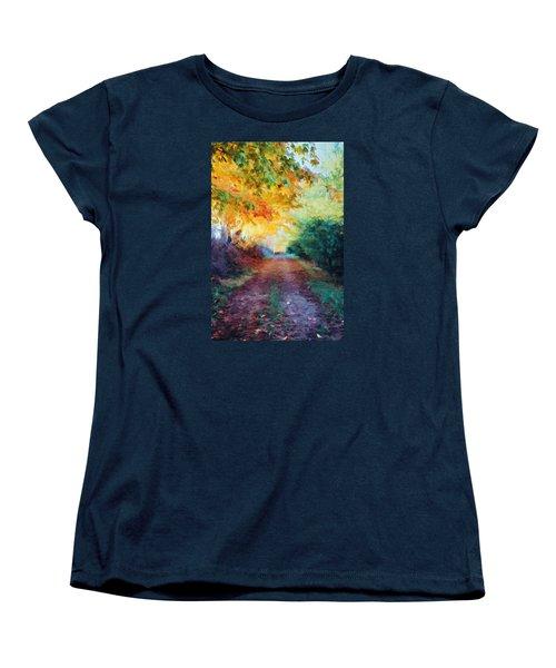 Women's T-Shirt (Standard Cut) featuring the photograph Autumn Road by Diane Alexander