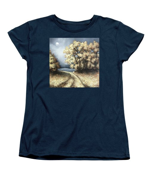 Women's T-Shirt (Standard Cut) featuring the painting Autumn Road by Inese Poga