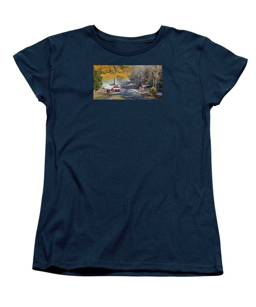 Women's T-Shirt (Standard Cut) featuring the photograph Autumn Snow On Sugar Shack, Reading, Vt by Betty Denise