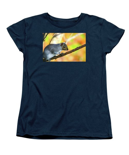 Women's T-Shirt (Standard Cut) featuring the photograph Autumn Squirrel by Karol Livote