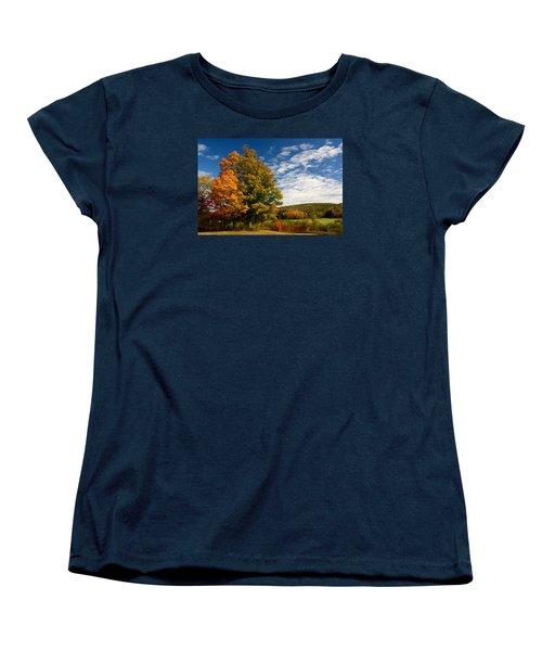 Autumn Tree On The Windham Path Women's T-Shirt (Standard Cut) by Nancy De Flon