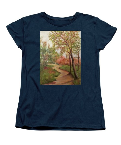 Women's T-Shirt (Standard Cut) featuring the painting Autumn Walk by Roseann Gilmore