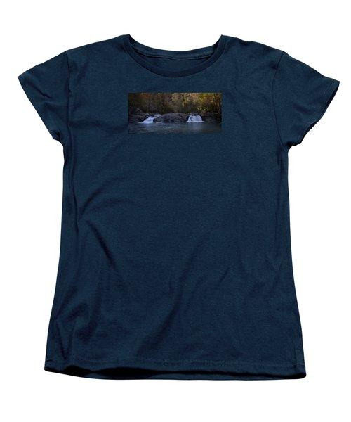 Women's T-Shirt (Standard Cut) featuring the photograph Autumn Waterfall  by Ellen Heaverlo
