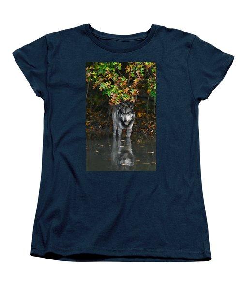 Autumn Wolf Women's T-Shirt (Standard Cut) by Shari Jardina