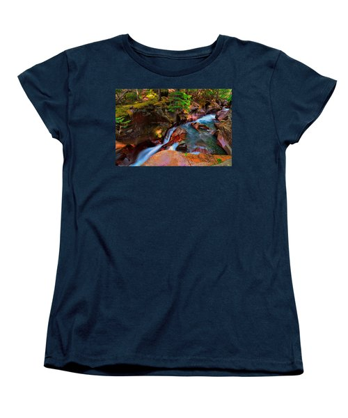 Women's T-Shirt (Standard Cut) featuring the photograph Avalanche Creek by Greg Norrell