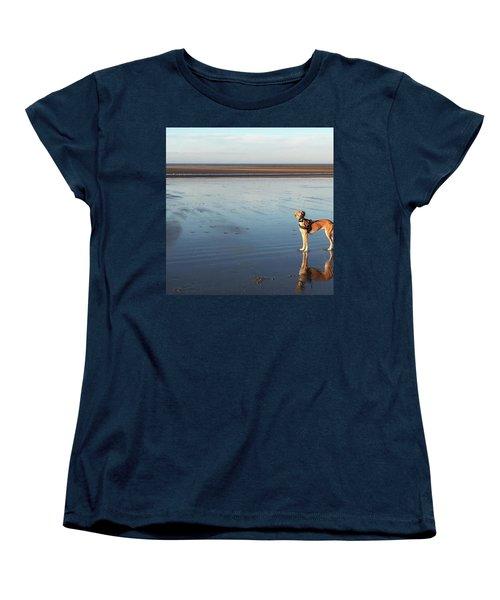 Ava's Last Walk On Brancaster Beach Women's T-Shirt (Standard Cut) by John Edwards
