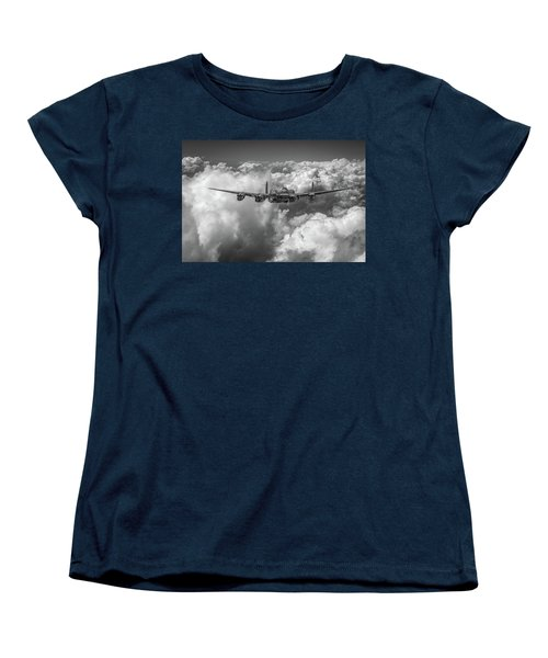 Women's T-Shirt (Standard Cut) featuring the photograph Avro Lancaster Above Clouds Bw Version by Gary Eason