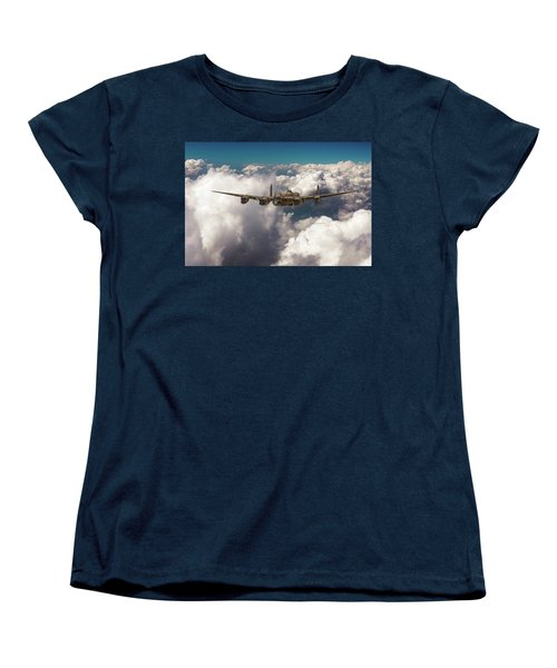 Women's T-Shirt (Standard Cut) featuring the photograph Avro Lancaster Above Clouds by Gary Eason