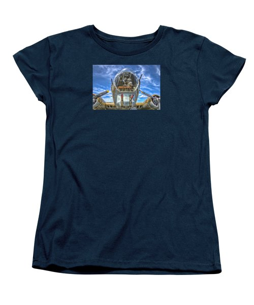 Women's T-Shirt (Standard Cut) featuring the photograph B 17 Up Close by Gary Slawsky