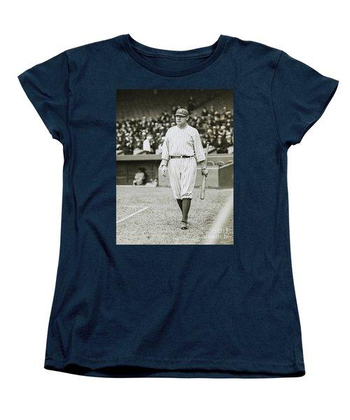 Babe Ruth Going To Bat Women's T-Shirt (Standard Cut) by Jon Neidert