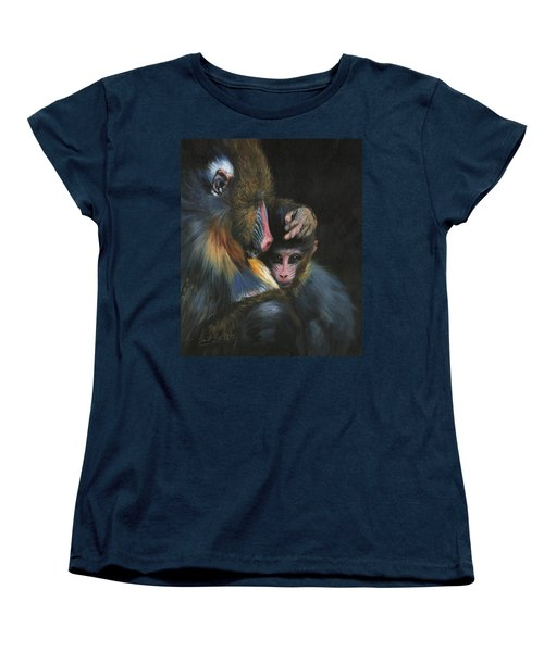 Baboon Mother And Baby Women's T-Shirt (Standard Cut) by David Stribbling