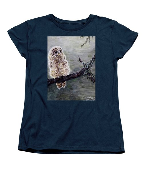 Women's T-Shirt (Standard Cut) featuring the painting Baby Owl by Judy Kirouac
