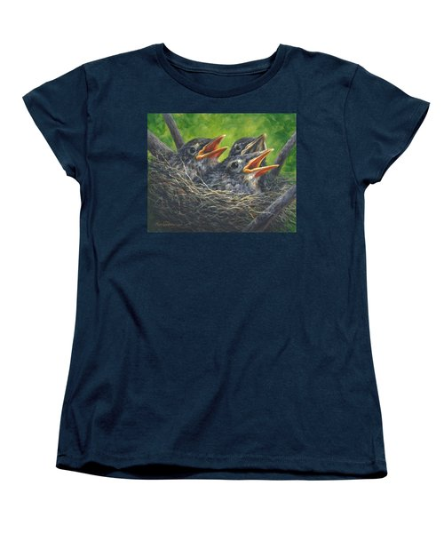 Women's T-Shirt (Standard Cut) featuring the painting Baby Robins by Kim Lockman