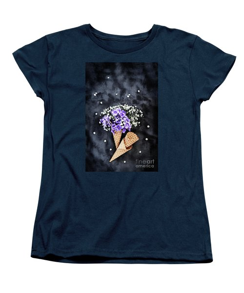 Baby's Breath And Violets Ice Cream Cones Women's T-Shirt (Standard Cut)