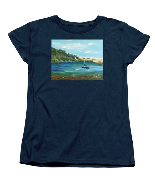 Women's T-Shirt (Standard Cut) featuring the painting Back Bay From Back Bay Inn Los Osos Ca by Katherine Young-Beck