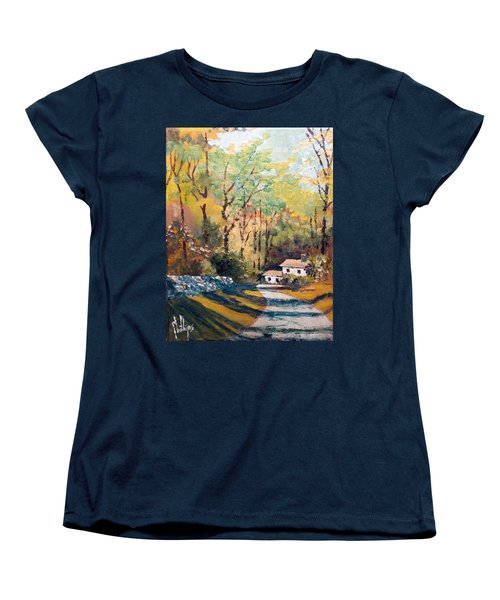 Women's T-Shirt (Standard Cut) featuring the painting Back In The Neighborhood by Jim Phillips