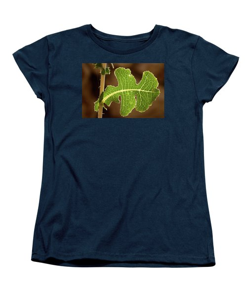 Women's T-Shirt (Standard Cut) featuring the photograph Back Side Light On A Leaf At Sunset by Yoel Koskas