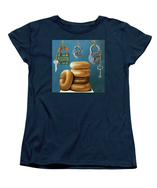 Bagels And Locks Women's T-Shirt (Standard Cut) by Linda Apple