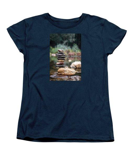 Balancing Zen Stones In Countryside River I Women's T-Shirt (Standard Cut) by Marco Oliveira